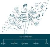 Diseñador gráfico con las herramientas de funcionamiento, concepto de la muchacha Fotos de archivo libres de regalías