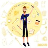 Diseñador gráfico de la historieta del VECTOR con los elementos del garabato Foto de archivo libre de regalías