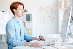 Diseñador gráfico del pelirrojo que trabaja en oficina fotografía de archivo libre de regalías