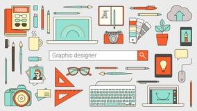 Diseñador gráfico, ilustrador y fotógrafo stock de ilustración
