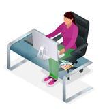 Diseñador gráfico o artista en el trabajo Dibujo algo en la tableta gráfica en la oficina ilustración del vector