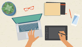 Diseñador gráfico Workplace Top View Fotografía de archivo libre de regalías