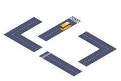 Diseñador isométrico de la carretera del camino con el autobús Foto de archivo