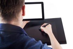 Diseñador y tableta de la pluma del gráfico Fotografía de archivo libre de regalías