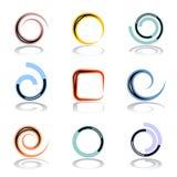 Diseñe el conjunto de elementos Formas del espiral y del círculo Fotos de archivo