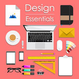 Diseñe el ejemplo del vector del espacio de trabajo creativo moderno de la oficina, lugar de trabajo de un diseñador Imágenes de archivo libres de regalías