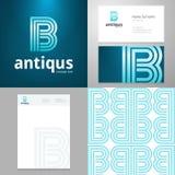 Diseñe el elemento del icono B con la tarjeta de visita y la plantilla de papel Foto de archivo libre de regalías
