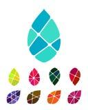 Diseñe el elemento del logotipo del agua o de la hoja del descenso del vector Fotos de archivo