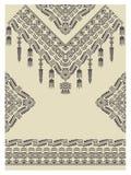 Diseñe el escote, las mangas y la frontera en estilo étnico Imágenes de archivo libres de regalías