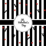 Diseñe el fondo rayado con color blanco y negro de la caja de la frontera del círculo Conejos del negro de la silueta y corazones libre illustration