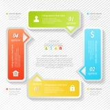 Diseñe el infographics del negocio cuatro opciones sucesivas, plantilla del diseño web Foto de archivo
