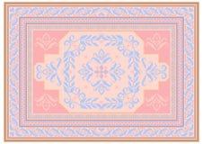 Diseñe la alfombra con el ornamento étnico de sombras rosadas y azuladas y de un modelo azulado floral en el centro libre illustration
