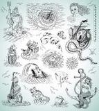 Diseñe la colección con las criaturas, las naves, la sirena y símbolos mythologycal del mar Imagen de archivo