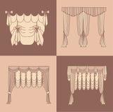 Diseñe la decoración interior aislada colección realista de las cortinas y de las pañerías del ejemplo del vector de los iconos d Fotografía de archivo libre de regalías