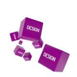 DISEÑE la palabra en los cubos coloreados, concepto creativo del negocio Imagenes de archivo