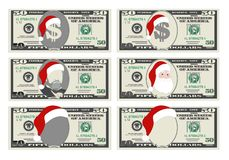 Diseñe la plantilla 50 dólares de billete de banco con Santa Claus y el sombrero rojo stock de ilustración