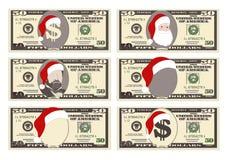Diseñe la plantilla 50 dólares de billete de banco con Santa Claus y el sombrero rojo ilustración del vector