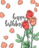 Diseñe la postal con las rosas y la enhorabuena de la caligrafía en estilo del bosquejo Imágenes de archivo libres de regalías