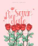 Diseñe la postal de la boda con los pétalos de rosas y la enhorabuena de la caligrafía Imagen de archivo