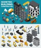 Diseñe la visión isométrica constructiva, cree su propio diseño, construcción de edificios, excavación, equipo pesado, camiones,  stock de ilustración