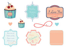 Diseñe las etiquetas en tema del amor, de la tarjeta del día de San Valentín o de la boda Imagen de archivo