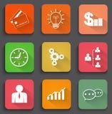 Diseñe los iconos planos para el web y los dispositivos móviles Fotos de archivo