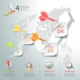 Diseñe los 4 pasos infographic, plantilla infographic del concepto del negocio Fotos de archivo libres de regalías