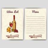 Diseñe para la plantilla del restaurante de la carta de vinos para la invitación, el menú, la bandera o el etc Diseño de concepto Imagen de archivo libre de regalías