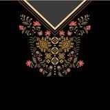 Diseñe para las camisas del cuello, las blusas, camiseta Frontera decorativa de Paisley stock de ilustración