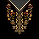 Diseñe para las camisas del cuello, las blusas, camiseta Frontera decorativa de Paisley ilustración del vector