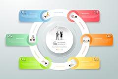 Diseñe pasos infographic del círculo los 6, cronología del negocio infographic Imagen de archivo libre de regalías
