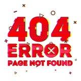 Diseñe una página con la página del error 404 no encontrada El error 404 es un estilo de la interferencia y del ruido Bandera del Fotos de archivo