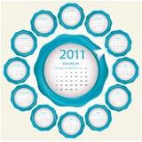 Diseño 2011 del calendario Fotografía de archivo