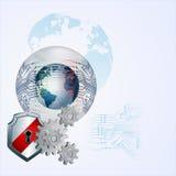 Diseño abstracto con el globo de la tierra en el botón/la esfera de cristal rodeados por el circuito electrónico Imagen de archivo libre de regalías