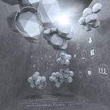 Diseño abstracto 3d para el ordenador del establecimiento de una red de la nube como concepto Foto de archivo libre de regalías