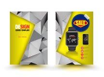 Diseño abstracto de la plantilla del folleto del vector con el reloj elegante Fotografía de archivo libre de regalías