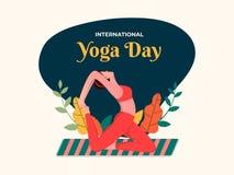 Diseño abstracto del cartel o de la bandera del estilo del vintage para el día internacional de la yoga imagen de archivo libre de regalías