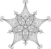 Diseño abstracto del cordón del negro del vector en la mono línea estilo - five-fing Imágenes de archivo libres de regalías
