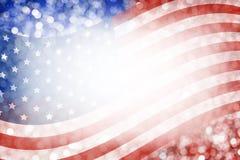 Diseño abstracto del fondo de bandera americana y de bokeh para el 4 de julio Foto de archivo