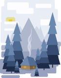 Diseño abstracto del paisaje con los árboles y las nubes blancos, una casa con el humo, nevando en un bosque en invierno, estilo  stock de ilustración
