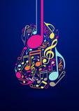Diseño abstracto del vector de la guitarra y de las notas Fotografía de archivo
