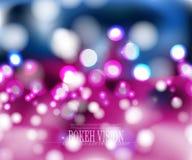 Diseño abstracto II, efecto luminoso iluminado del fondo del rosa de la visión del bokeh del vector Fotos de archivo