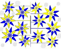 Diseño abstracto petalled floral moderno en el fondo blanco fotografía de archivo