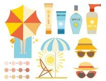 Diseño ackaging poner crema de la protección solar de la botella del vector del icono del sunblock del verano del envase del pant Fotografía de archivo