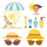 Diseño ackaging poner crema de la protección solar de la botella del vector del icono del sunblock del verano del envase del pant stock de ilustración