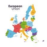 Diseño aislado del mapa de la unión europea ilustración del vector
