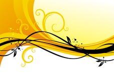 Diseño amarillo con los enrollamientos Fotos de archivo libres de regalías