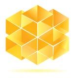 Diseño amarillo del cubo Fotografía de archivo libre de regalías