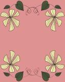 Diseño amarillo del marco de las flores Imagenes de archivo
