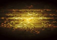 Diseño amarillo de la tecnología del vector con las flechas brillantes abstractas Fotografía de archivo